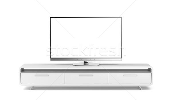 Foto stock: Tv · suporte · tela · plana · moderno · casa · tecnologia