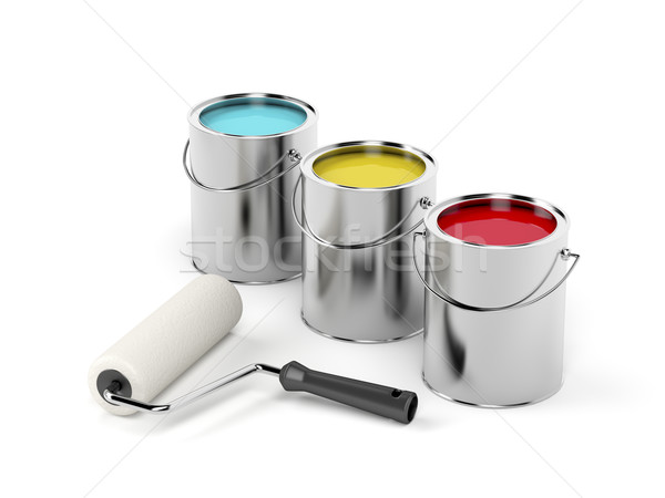 Paint roller and paint canisters Stock photo © magraphics
