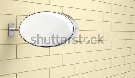 Blanco oval pared frente vista calle Foto stock © magraphics