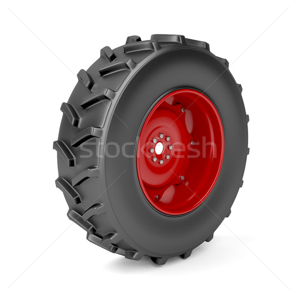 Tracteur roue blanche rouge acier transport Photo stock © magraphics