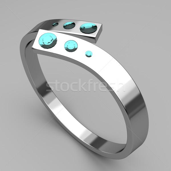 ストックフォト: 銀 · リング · ターコイズ · ダイヤモンド · グレー · 結婚式