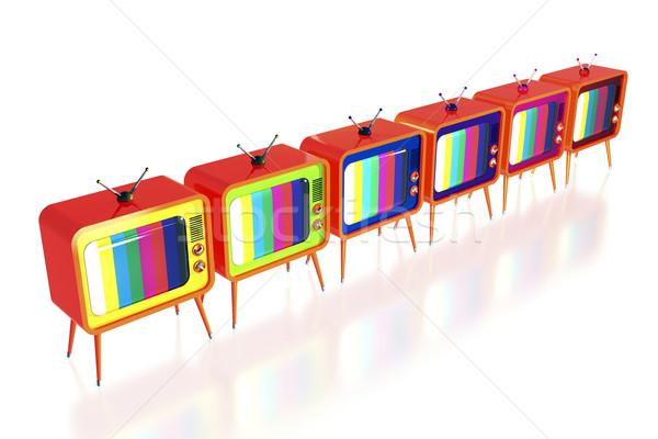 Orange retro tv's Stock photo © magraphics