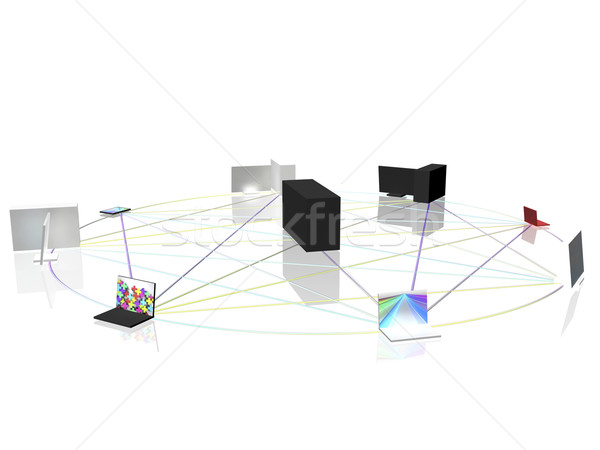 Computer netwerk cirkel business internet technologie Stockfoto © magraphics