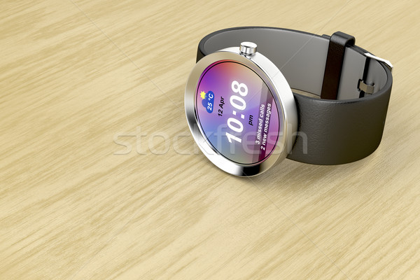 Smart watch with leather strap Stock photo © magraphics