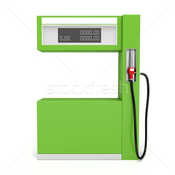 Zöld benzinpumpa 3D kép fehér autó Stock fotó © magraphics