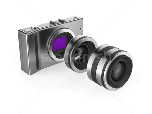Kamera lencsék fehér fém videó digitális Stock fotó © magraphics