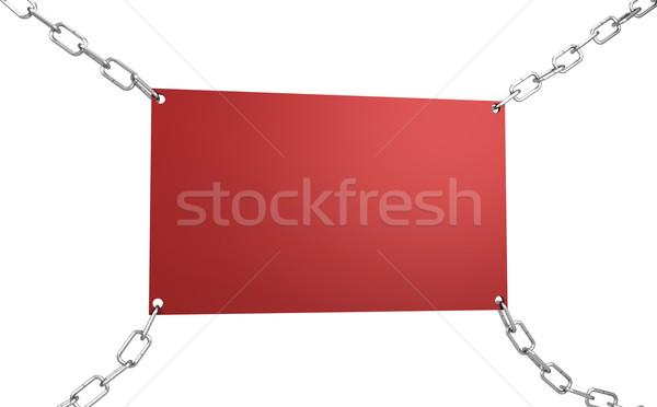 Vide rouge bord 3d illustration chaînes isolé Photo stock © magraphics