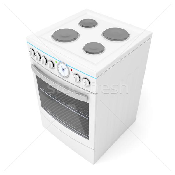 Estufa eléctrica blanco puerta ventana cocina Foto stock © magraphics