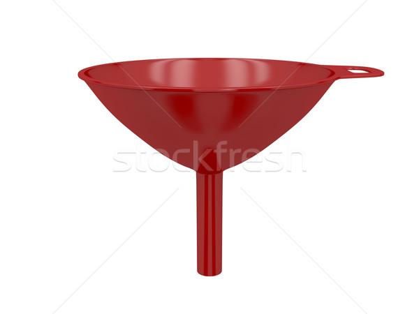 Piros tölcsér műanyag izolált fehér olaj Stock fotó © magraphics