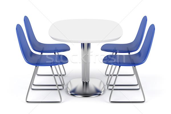 Eettafel stoelen witte kantoor tabel Blauw Stockfoto © magraphics