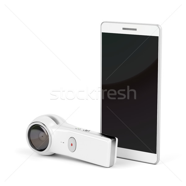 360 degree camera and smartphone Stock photo © magraphics