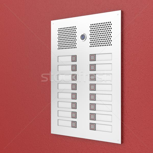 Rouge mur bâtiment porte métal Photo stock © magraphics