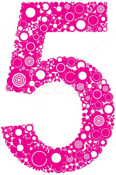 Aantal illustratie vijf roze Stockfoto © magraphics