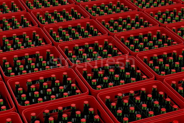 Sör műanyag piros világos sör doboz zöld Stock fotó © magraphics