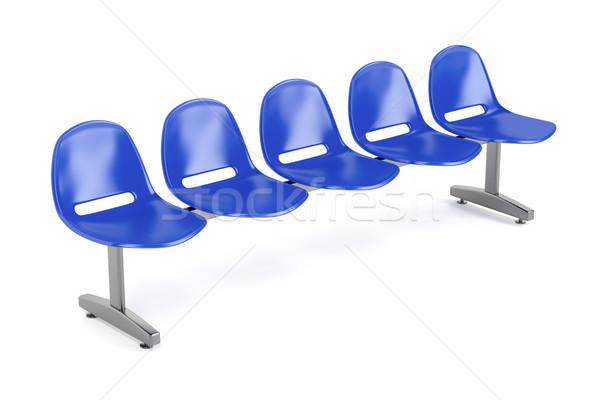 Sala de espera sillas blanco metal azul estadio Foto stock © magraphics