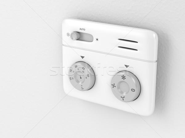 Termosztát fal 3d illusztráció hőmérő ventillátor irányítás Stock fotó © magraphics