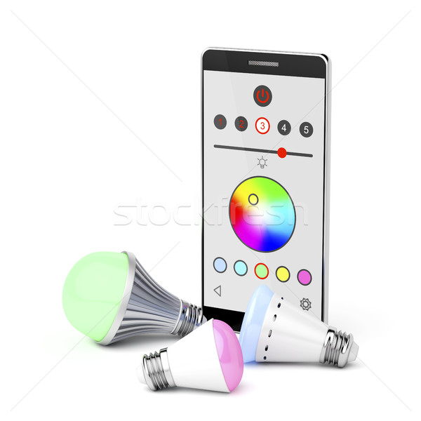 Smartphone and LED light bulbs Stock photo © magraphics