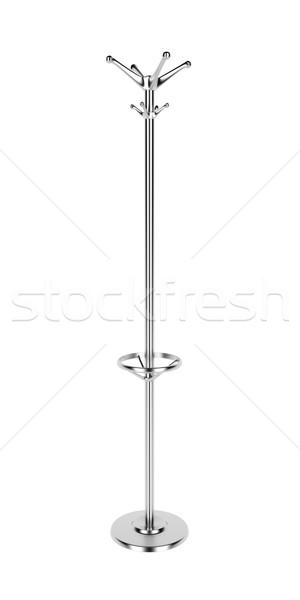 Manteau rack argent isolé blanche meubles Photo stock © magraphics