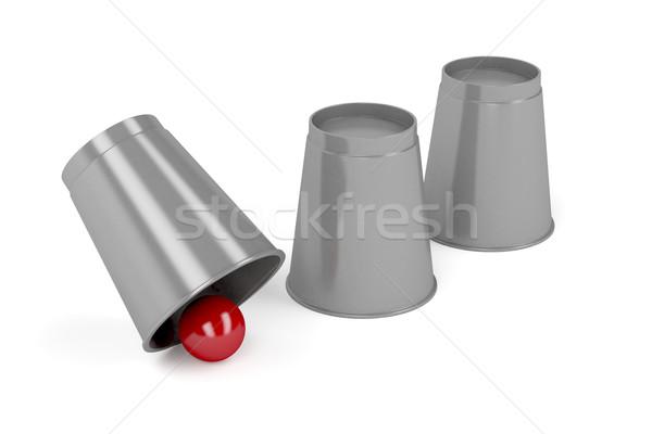 Três bola truque de mágica vermelho copo Foto stock © magraphics