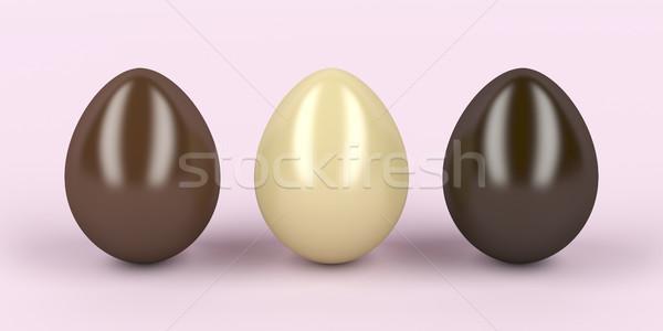 Trois oeufs lait blanche sombre chocolat Photo stock © magraphics