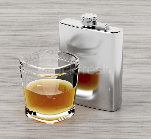 бедро колба стекла бренди деревянный стол пить Сток-фото © magraphics