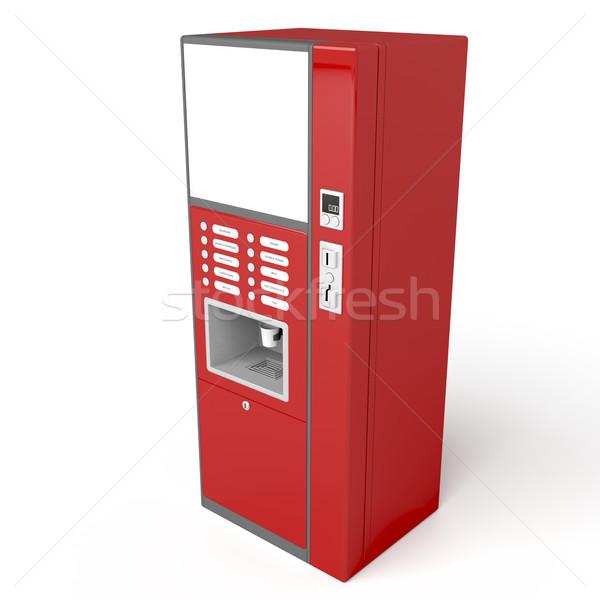 красный торговый автомат кофе белый 3D изображение Сток-фото © magraphics