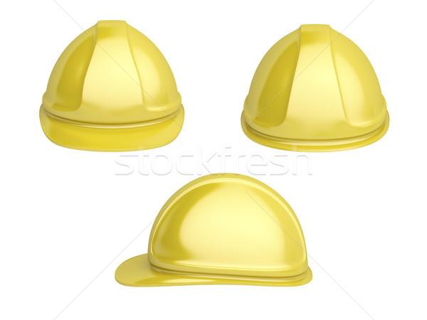 Sarı plastik kask geri yandan görünüş Stok fotoğraf © magraphics