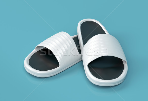 Witte slippers rubber strand Stockfoto © magraphics