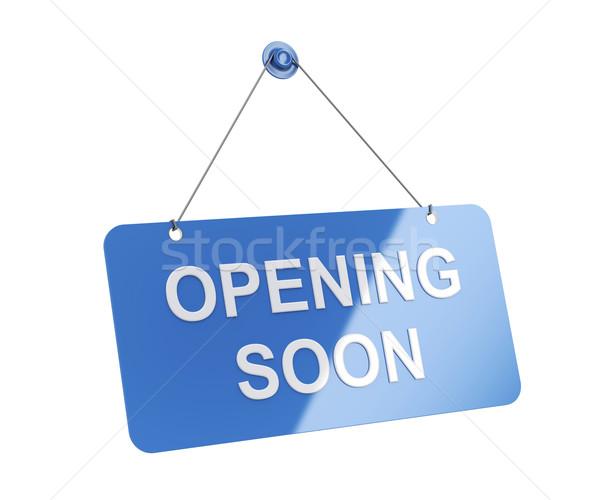 Nyitás hamarosan izolált fehér üzlet kék Stock fotó © magraphics