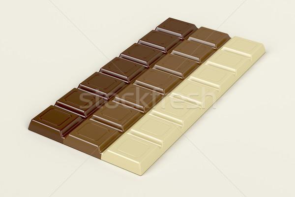 Csokoládé szelet három különböző csokoládé bár tej Stock fotó © magraphics