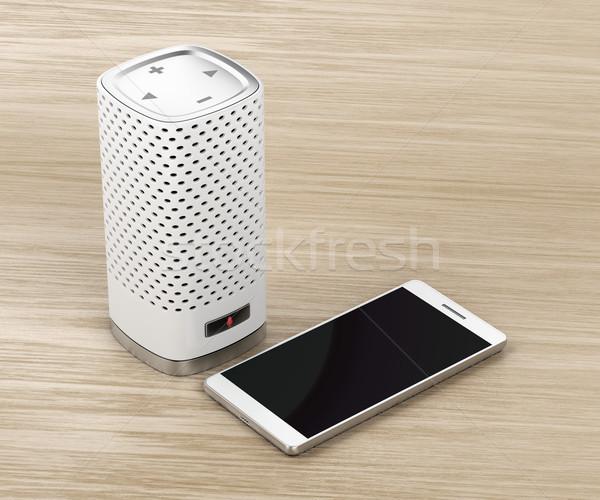 Spreker smartphone hout smart geïntegreerd virtueel Stockfoto © magraphics