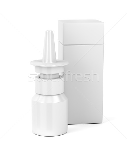 White nasal spray bottle and plastic box Stock photo © magraphics