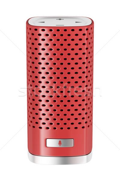 красный Smart оратора изолированный белый голосом Сток-фото © magraphics