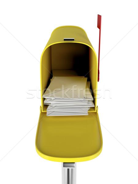 Postaláda izolált fehér elöl kilátás posta Stock fotó © magraphics