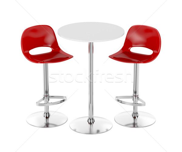 Bár asztal terv étterem bútor bőr Stock fotó © magraphics