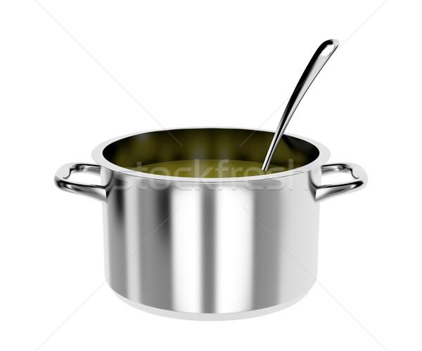 Lábas merőkanál edény leves izolált fehér Stock fotó © magraphics