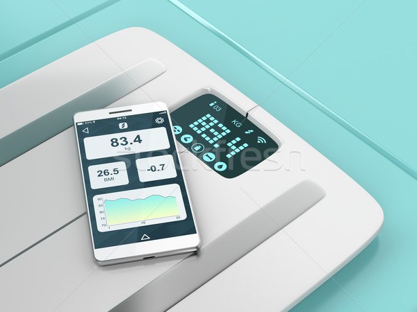 Smart weight scale and smartphone Stock photo © magraphics