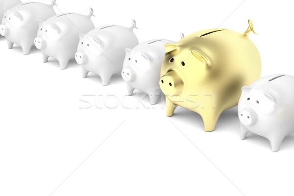 Csetepaté malac bankok egy nagyobb arany Stock fotó © magraphics