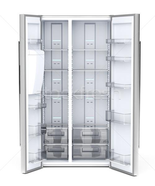 Vide réfrigérateur vue blanche technologie Photo stock © magraphics