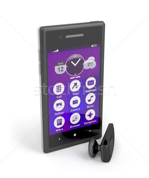 Smartphone and wireless handsfree Stock photo © magraphics