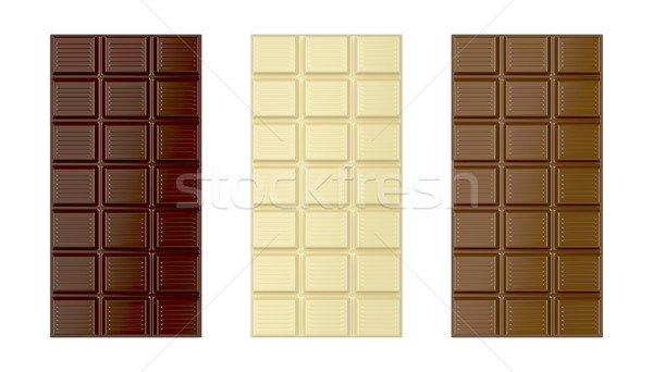 Blanche brun chocolat noir bars isolé chocolat Photo stock © magraphics