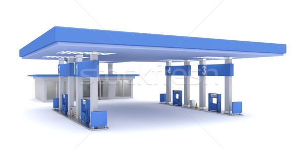 Tankstation 3D gerenderd afbeelding gebouw bouw Stockfoto © magraphics