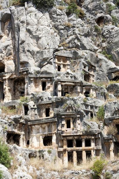 Antigo arquitetura ruínas penhasco túmulo Turquia Foto stock © magraphics
