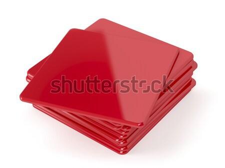 Red plastic beermats Stock photo © magraphics