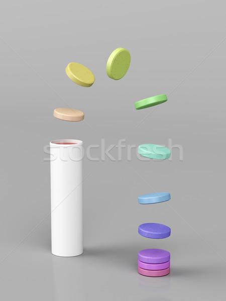 Vitamine variété coloré santé bouteille pilules Photo stock © magraphics