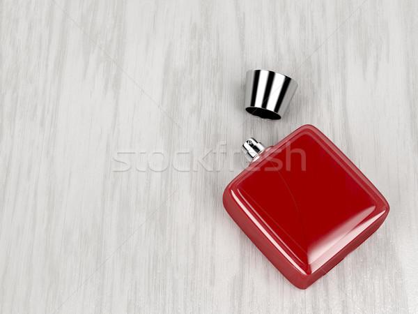 Czerwony perfum butelki drewna mężczyzn płynnych Zdjęcia stock © magraphics