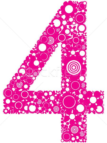 Nombre illustration quatre rose Photo stock © magraphics