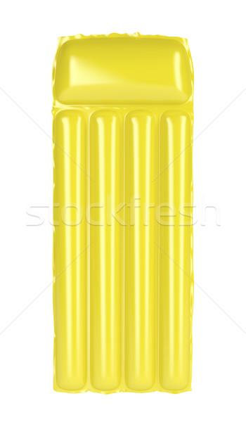 желтый надувной пляж матрац изолированный белый Сток-фото © magraphics
