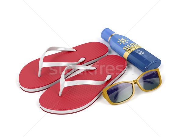 Protetor solar loção óculos de sol sol creme branco Foto stock © magraphics