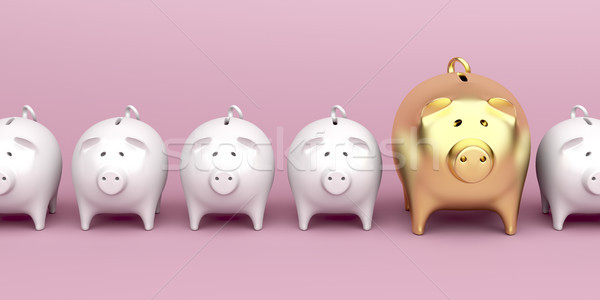 Row with piggy banks on pink background Stock photo © magraphics